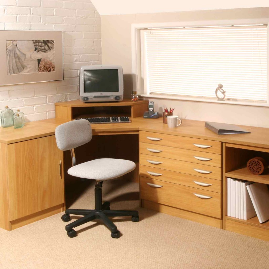 Modular home office furniture - Vale Furnishers Modular Home Office In Warm Oak