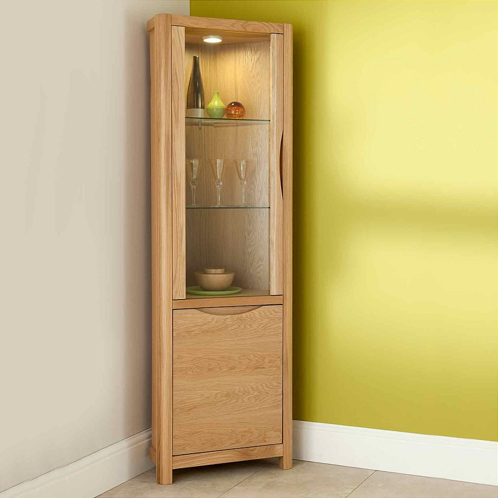 Vale furnishers carlson corner display cabinet for Corner cabinet