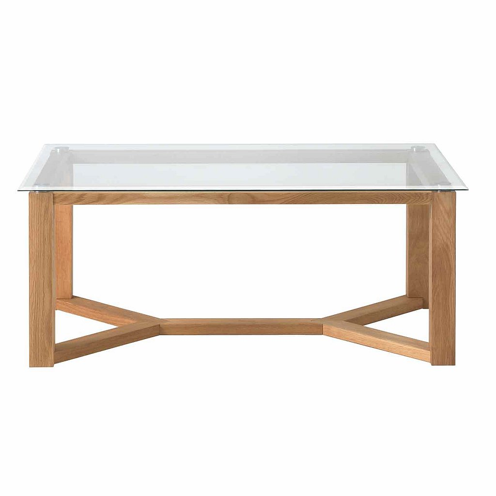 Vale furnishers vale oak glass top coffee table for Large glass table top