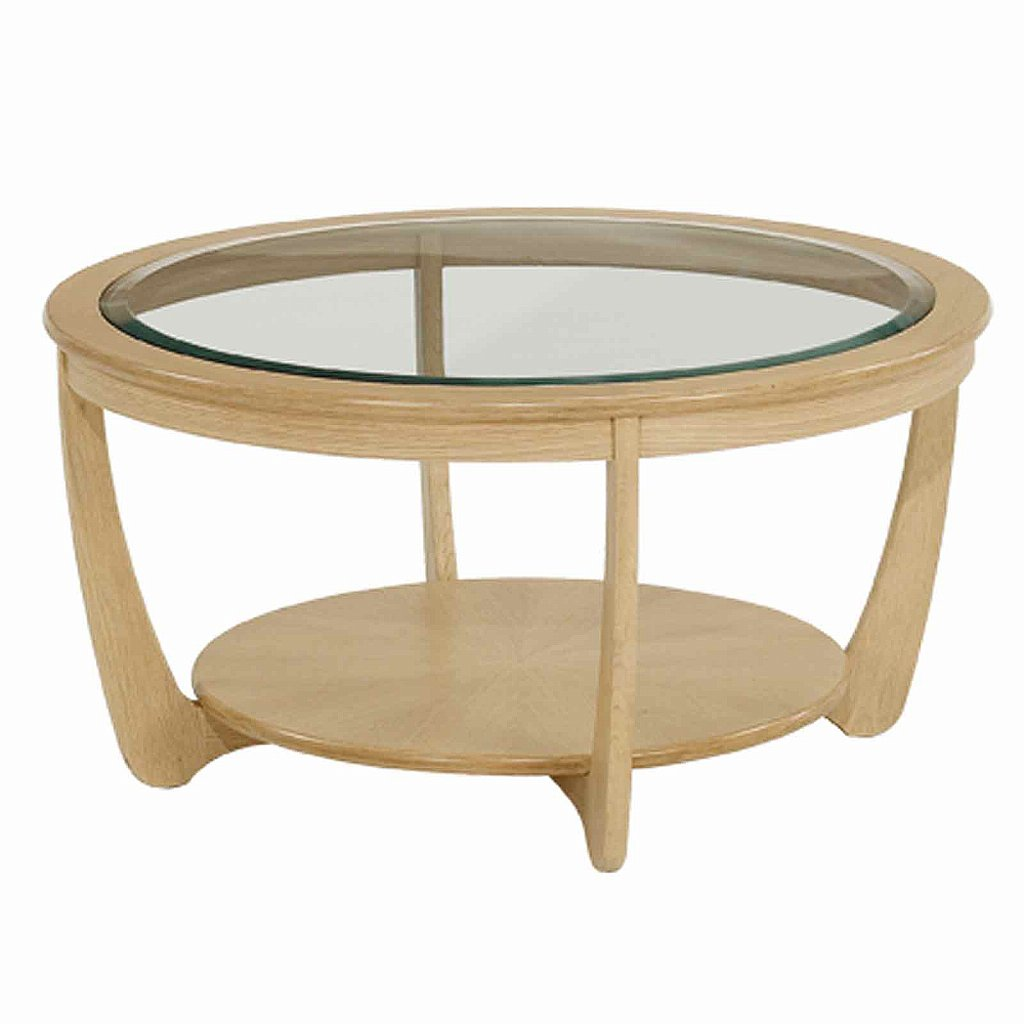 Nathan shades in oak glass top round coffee table for Coffee tables glass top