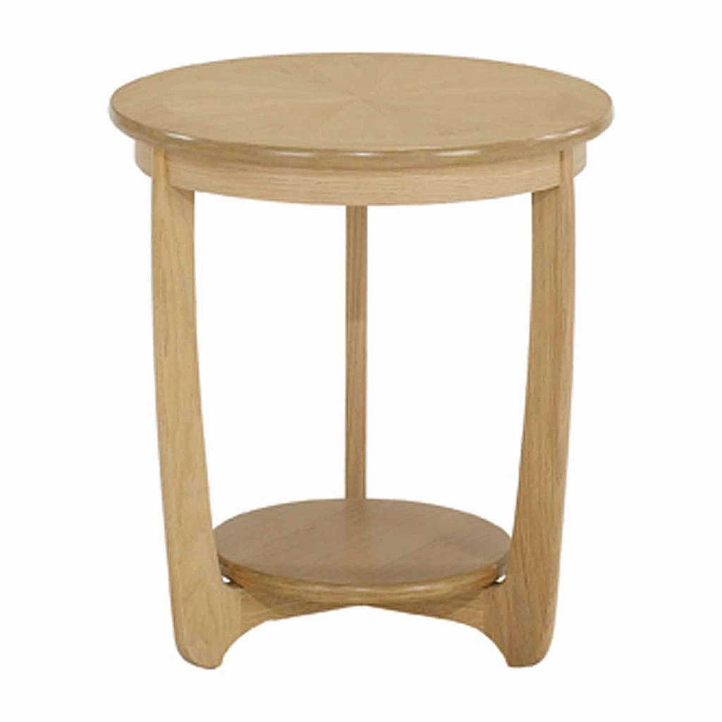 Nathan Shades In Oak Sunburst Top Round Lamp Table
