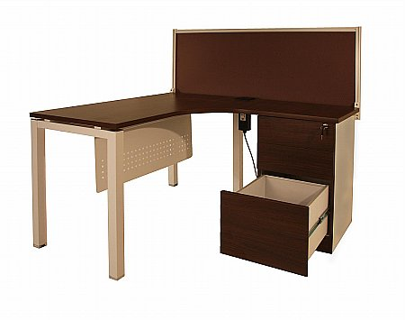 Vale Furnishers -  Walnut Finish Desk System. Click for larger image.