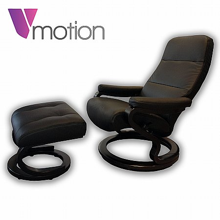 Vale Furnishers - V-Motion Hannover Recliner and Stool in Black. Click for larger image.