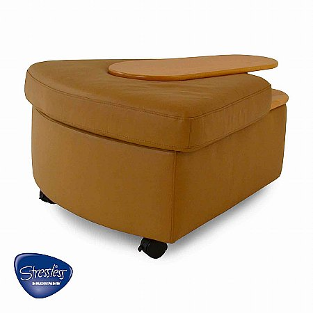 Stressless - Corner Ottoman in Paloma Pearl Leather. Click for larger image.