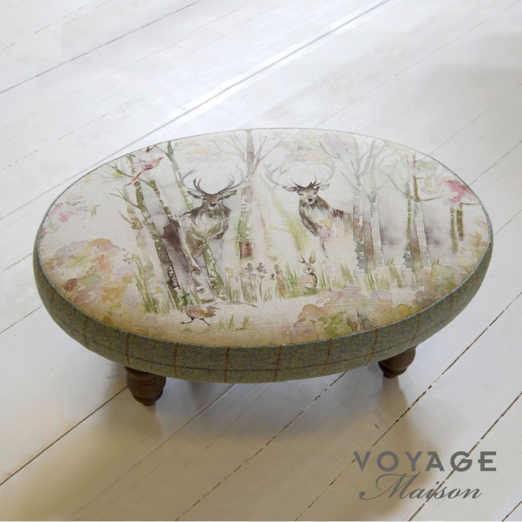 Voyage maison country enchanted forest ceres footstool