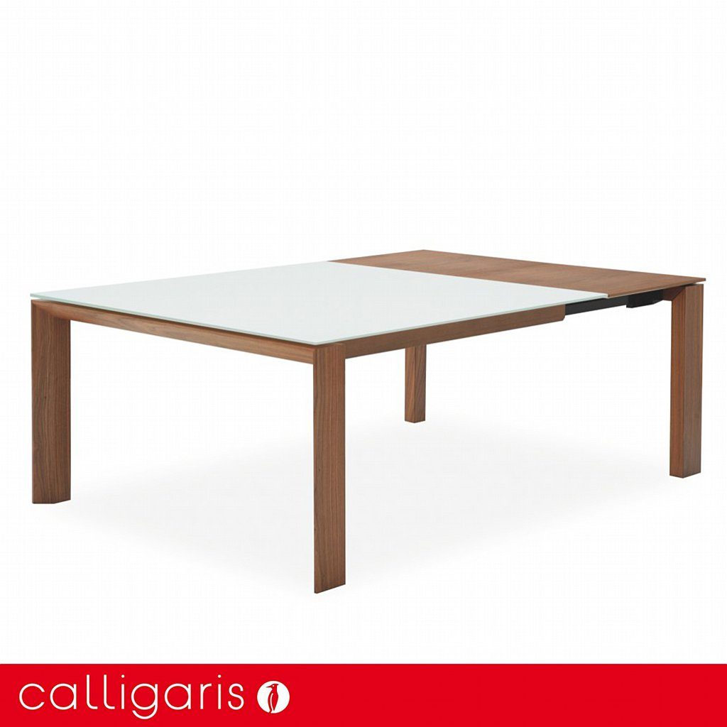 Calligaris omnia glass ext square dining table white and walnut