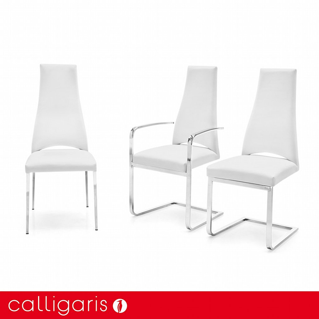 calligaris juliet leather dining chair chrome legs