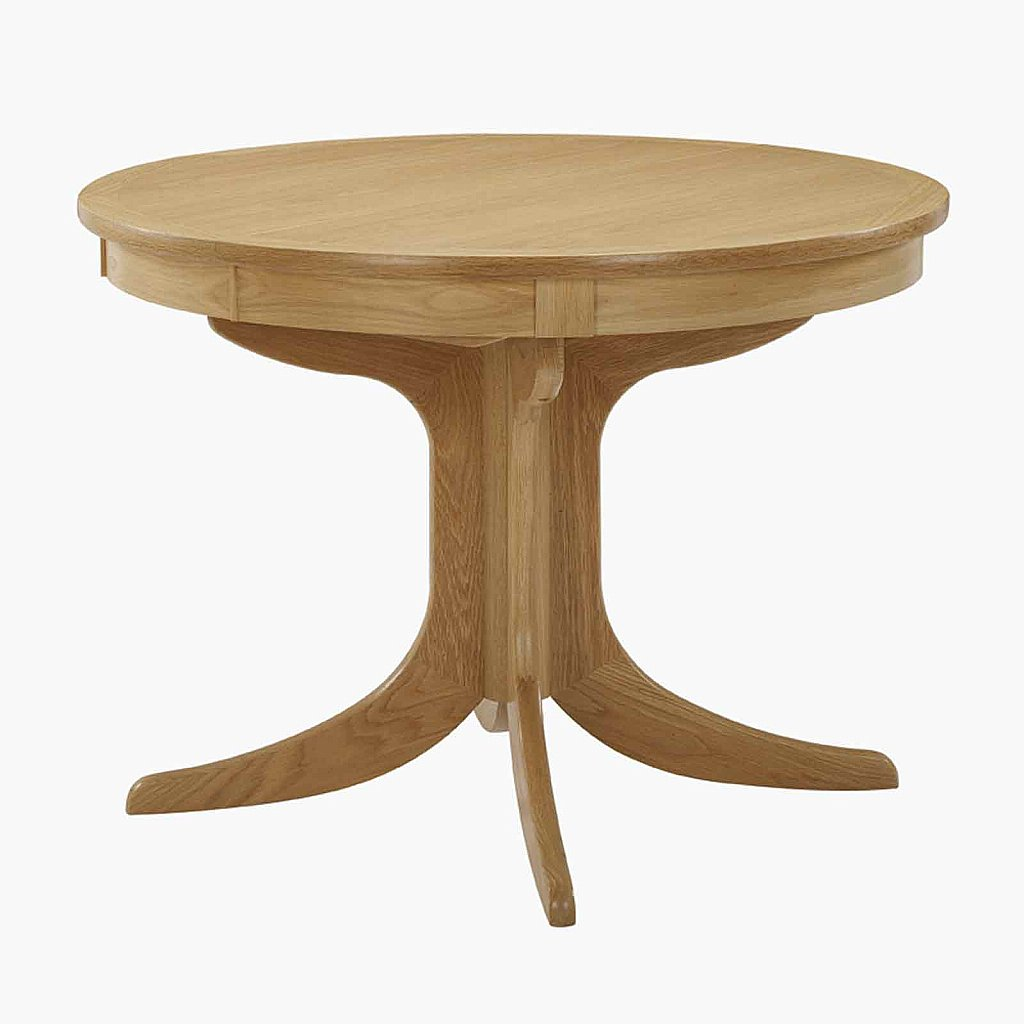 Nathan shades in oak circular pedestal extending dining table for Circular dining table