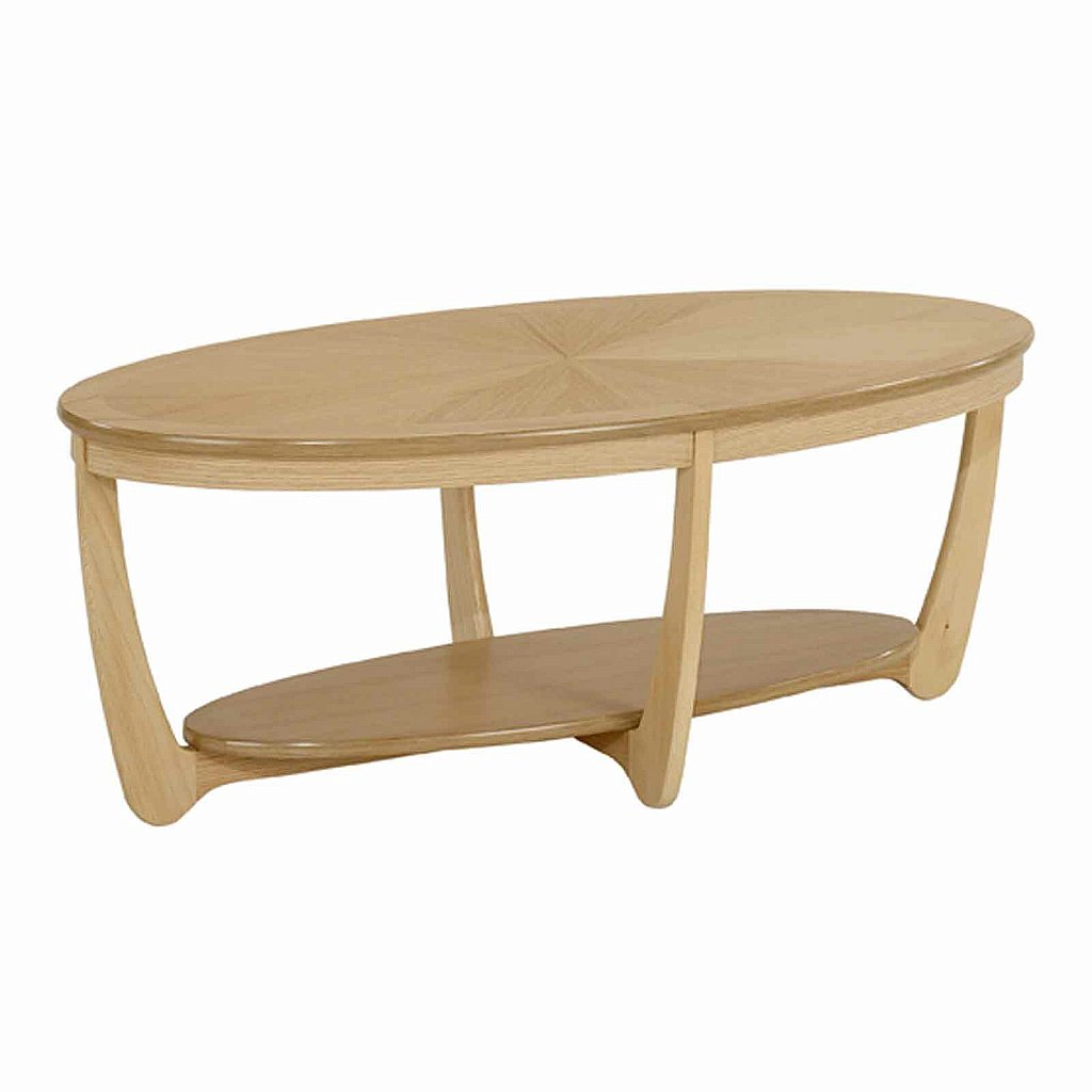 Nathan shades in oak sunburst top oval coffee table Coffee tables uk