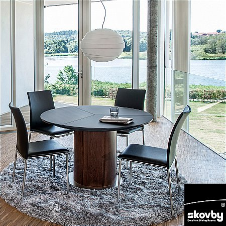 10805/Skovby/SM32-Frosted-Black-Glass-Extending-Dining-Table
