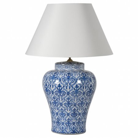 14662/Vale-Furnishers/Lamp-Shade-with-Blue-and-White-Jar