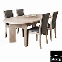 Skovby - SM14 Oval Extending Dining Table with 4 Chairs