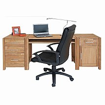Vale Furnishers - Vale Oak Writing Desk Combination