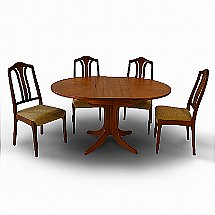 Nathan - Classic Circular Extending Pedestal Dining Table and Four Chairs