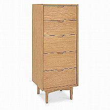 Vale Furnishers - Carnaby Oak Tall Five Drawer Chest