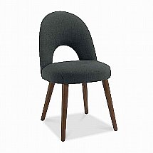 Vale Furnishers - Carnaby Walnut Upholstered Dining Chair in Charcoal Fabric