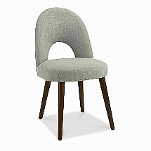 Vale Furnishers - Carnaby Walnut Upholstered Dining Chair in Linen Fabric