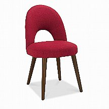 Vale Furnishers - Carnaby Walnut Upholstered Dining Chair in Red Fabric