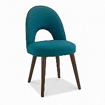 Vale Furnishers - Carnaby Walnut Upholstered Dining Chair in Teal Fabric