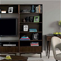 Vale Furnishers - Carnaby Walnut Wide Bookcase