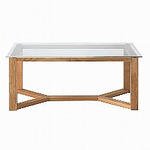Vale Furnishers - Vale Oak Glass Top Coffee Table