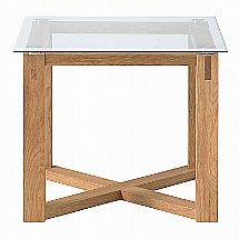 Vale Furnishers - Vale Oak Glass Top Lamp Table