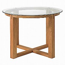 Vale Furnishers - Vale Oak Glass Top Round Table