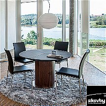 Skovby - SM32 Frosted Black Glass Extending Dining Table