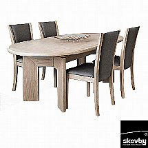Skovby - SM14-SM64 SM14 Oval Extending Dining Table with 4 Chairs In Monic 4700