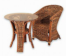 Vale Furnishers -  Wicker Chair and Glass Top Table