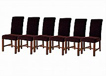 Vale Furnishers -  Six Purple Fabric Dining Chairs