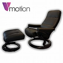 Vale Furnishers - V-Motion Hannover Recliner and Stool in Black