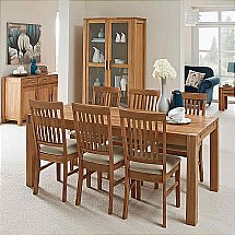 Vale Furnishers - Vale Oak Large Extendable Dining Table and Fabric Chairs