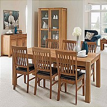 Vale Furnishers - Vale Oak Large Extendable Dining Table and Leather Chairs