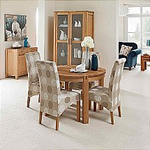Vale Furnishers - Vale Oak Round Dining Table with Patterned Chairs