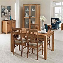 Vale Furnishers - Vale Oak Small Extendable Table with Fabric Chairs