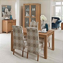 Vale Furnishers - Vale Oak Small Extendable Table with Patterned Chairs