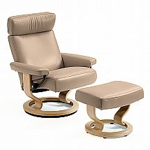 Stressless - Orion Recliner and Stool in Batick Latte Leather