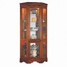 Vale Furnishers - Cork Tall Corner Display with Glass Base Panels