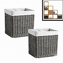 Vale Furnishers - Vale Oak Pair of Willow Baskets